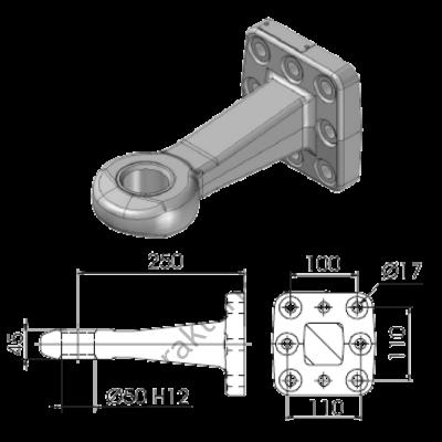 Vonószem d50mm V.Orlandi /100x110mm felfogatás * 8 csavar  V.Orlandi